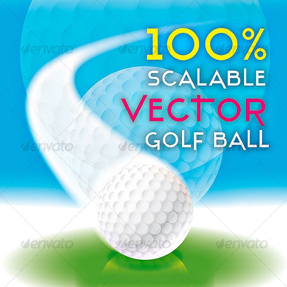 REALISTIC 100% SCALABLE GOLF BALL VECTOR - Man-made Objects Objects