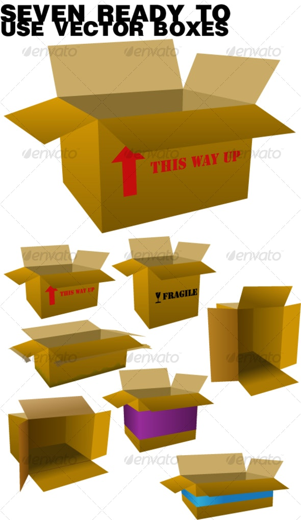 boxes pack. 7 vector boxes - Man-made Objects Objects