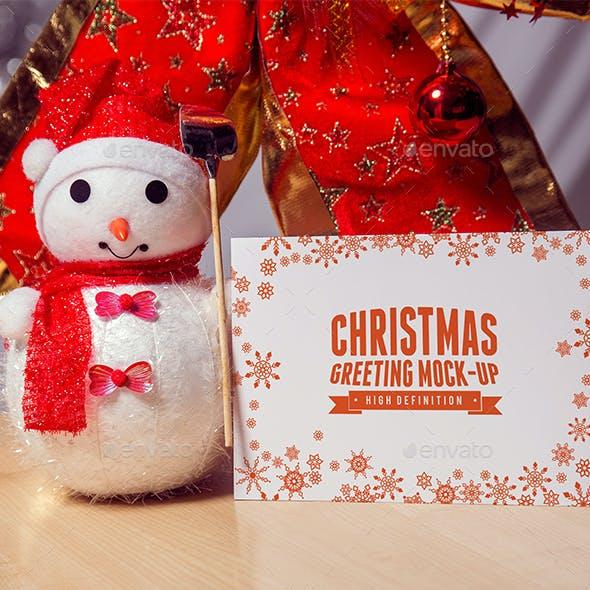 Photorealistic Christmas greeting Mock-Up.