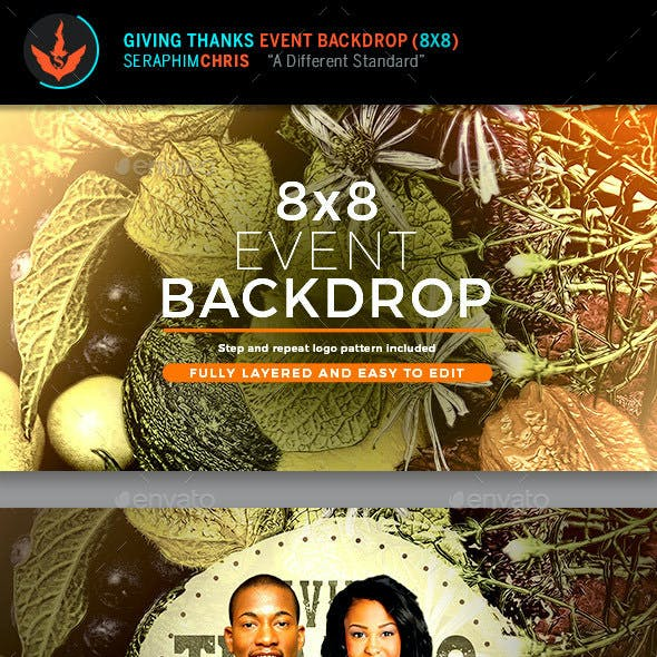 Giving Thanks 8x8 Event Backdrop Template