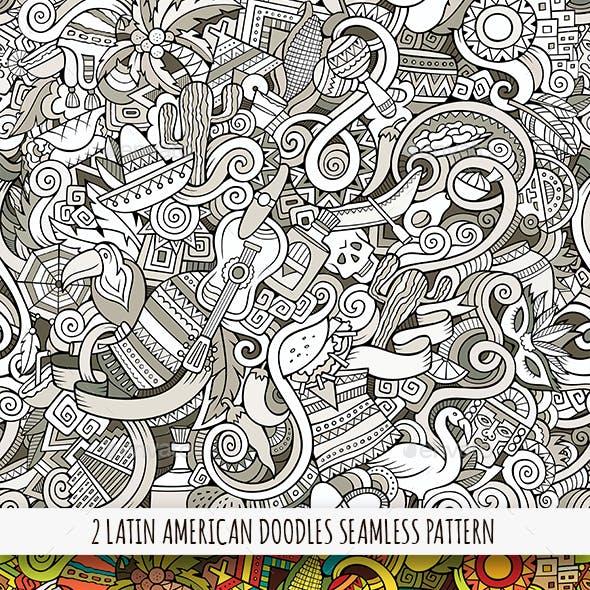 2 Latin American Doodles Seamless Patterns