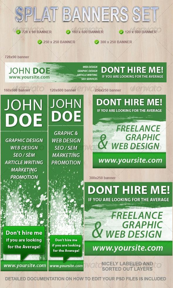 Splat Web Banners Set - Web Elements
