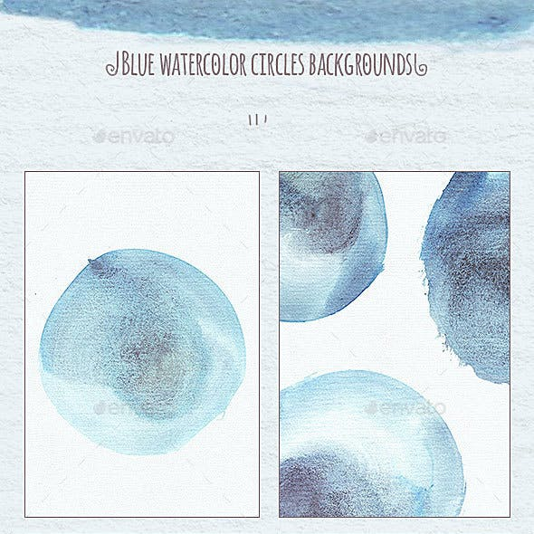 Blue Watercolor Circles Backgrounds