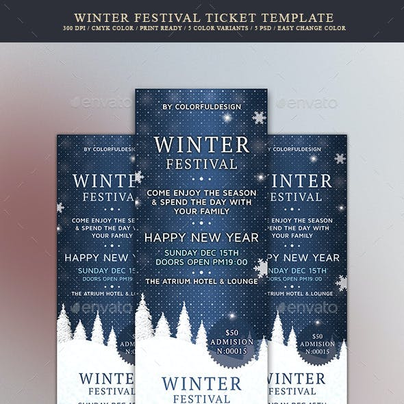 Winter Festival Ticket Template