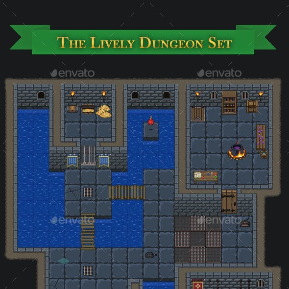 Top-down Lively Dungeon - 32x32 Tileset + Objects