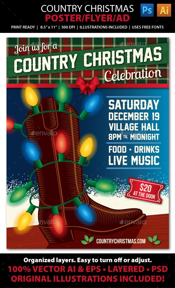 Country Christmas Event Poster, Flyer or Ad - Holidays Events