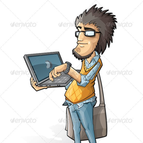 Programmer with a laptop