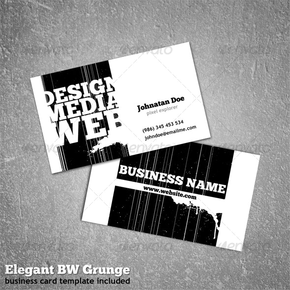 Elegant BW Grunge - Business Card - Creative Business Cards