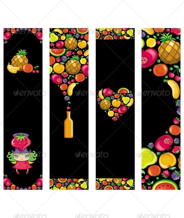 Colorful fruit banners - Food Objects