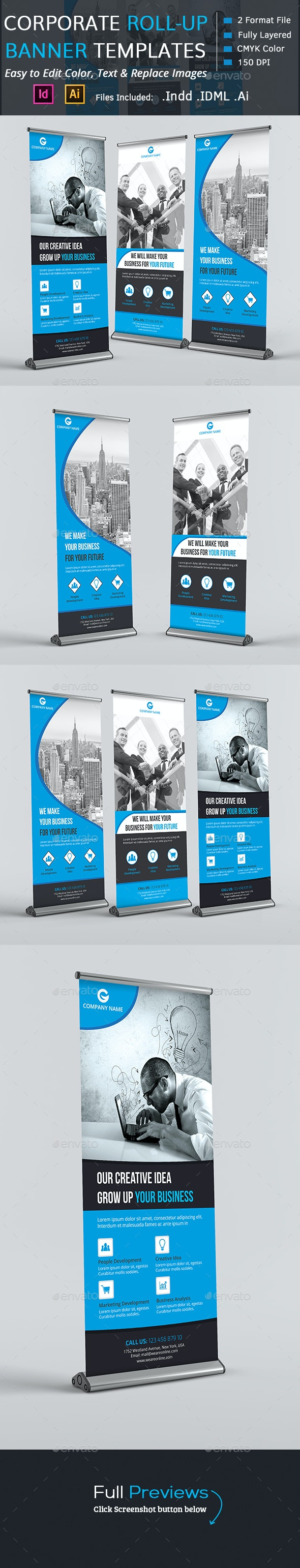 Corporate Roll-up Banners - Signage Print Templates