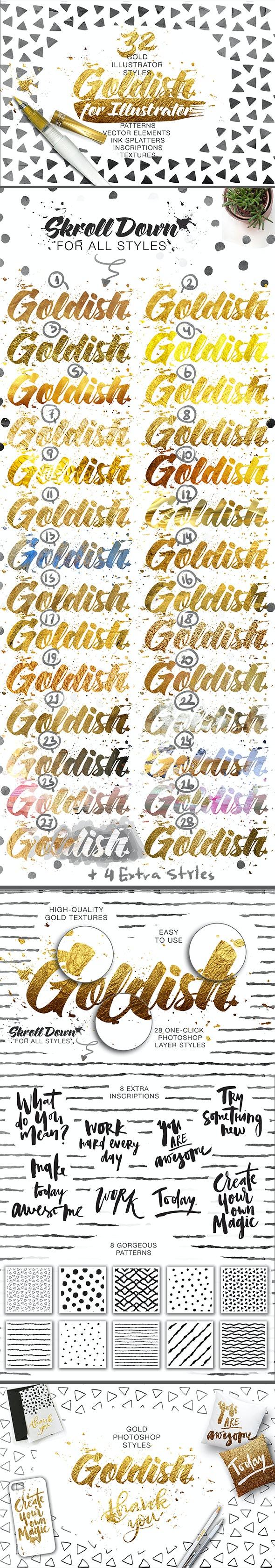 Goldish - Gold Styles For Illustrator - Styles Illustrator