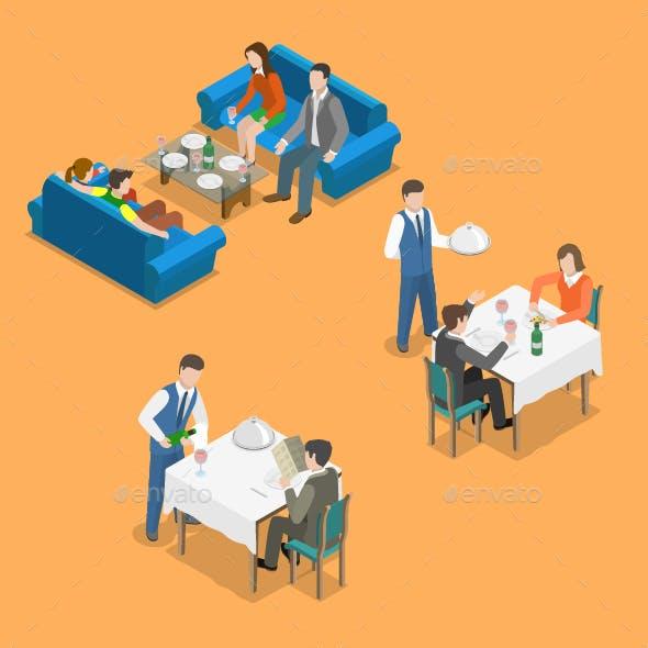 Restaurant Service Isometric Flat Vector Concept