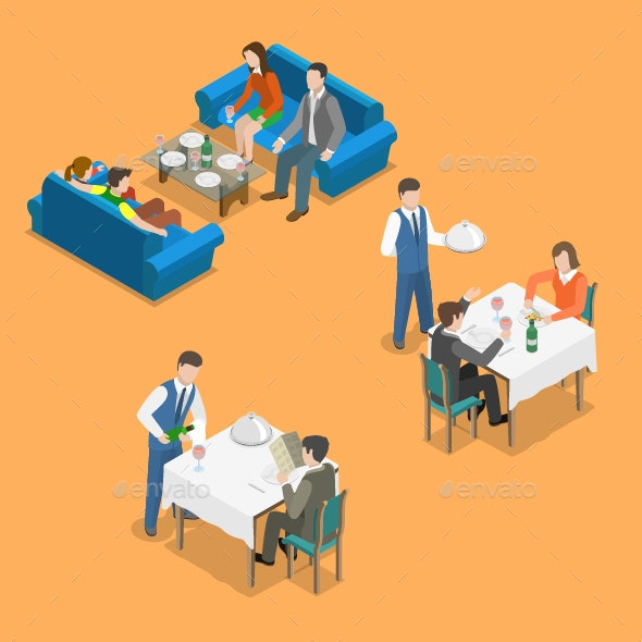 Restaurant Service Isometric Flat Vector Concept - People Characters