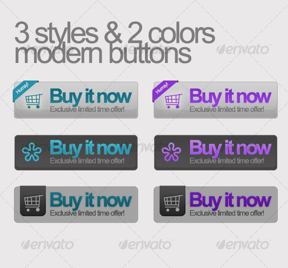 Buy it now buttons 3 styles w/ 2 colors - Buttons Web Elements