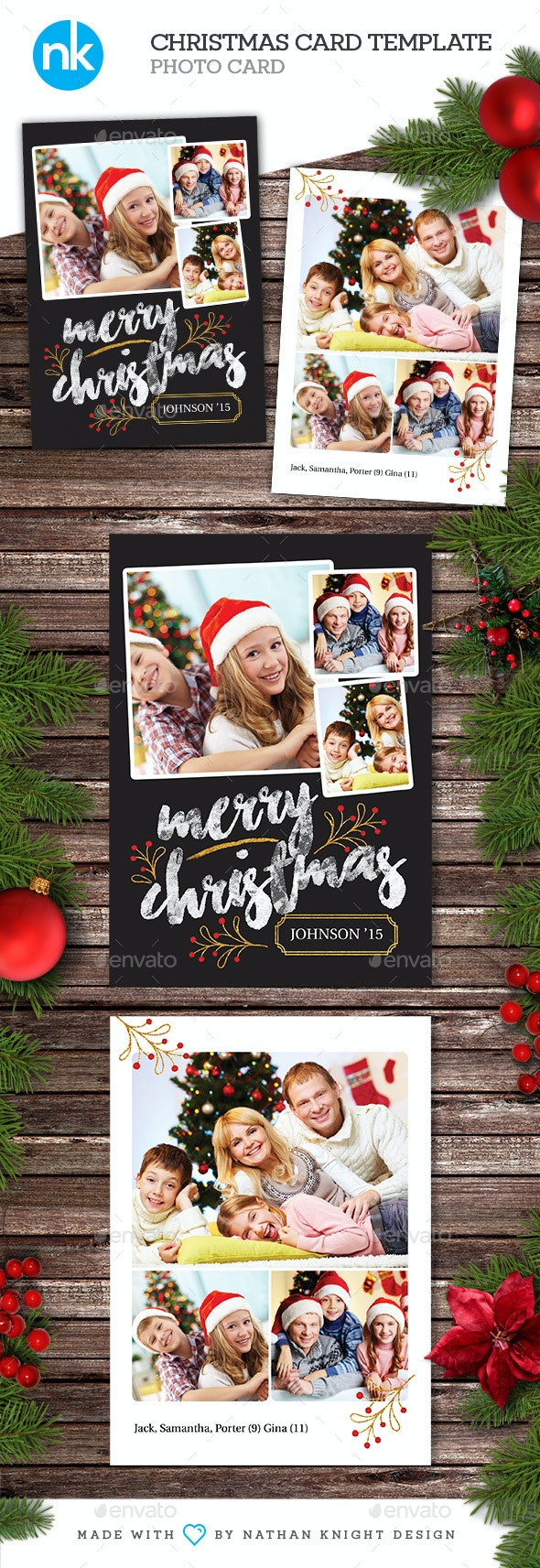 Christmas Card Template - Modern Gold Foil - Holiday Greeting Cards