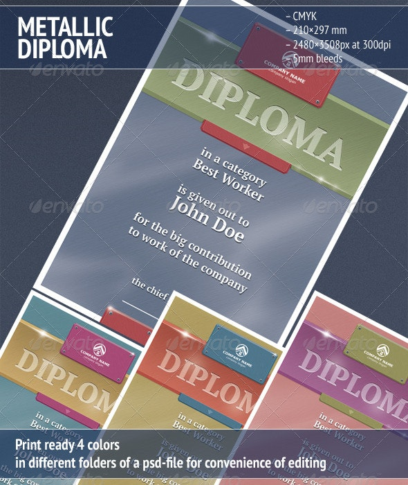 Metallic Diploma - Miscellaneous Print Templates