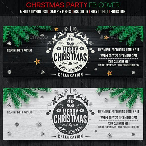5 Chirstmas Party Facebook Covers