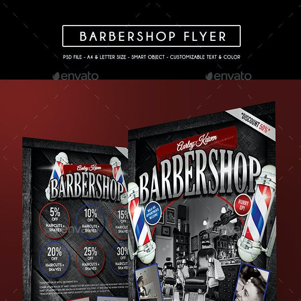 Barbershop Flyer + Roll Up Banner