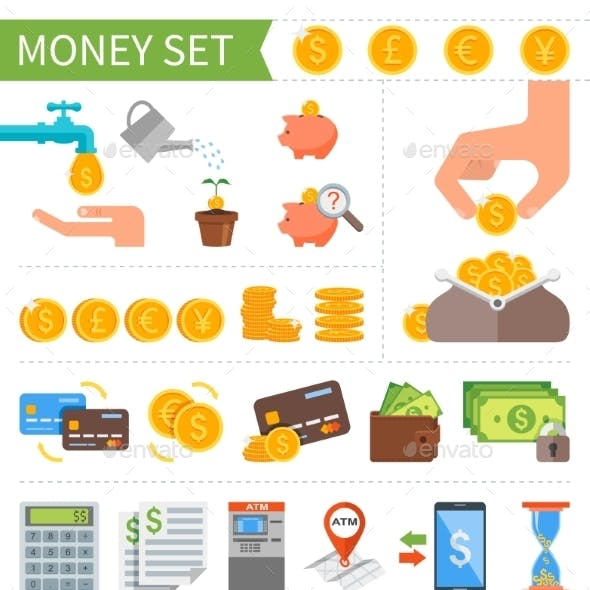 Vector Set Of Money And Finance Icons In Flat