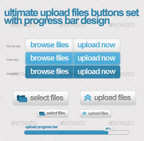 Upload files buttons w/ css sprit & progress bar - Web Elements