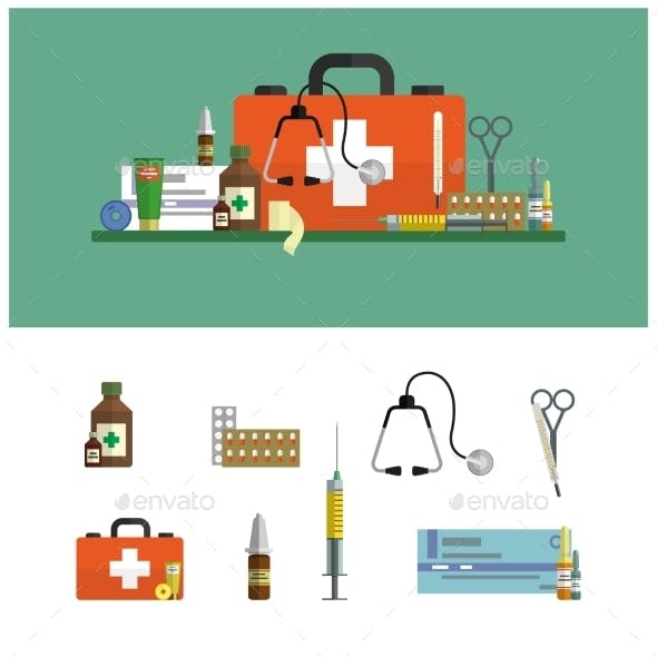 Health Care Medical Flat Banners. First Aid Icons