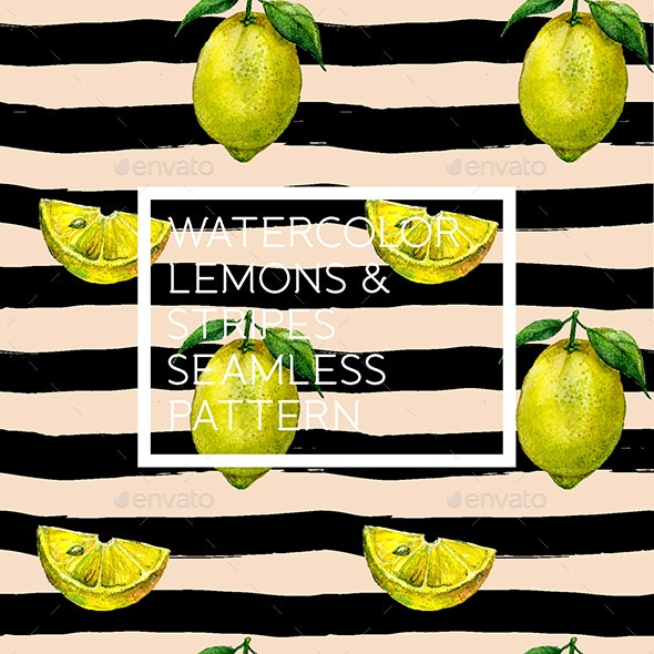 Vector Watercolor Lemons and Stripes Pattern - Nature Backgrounds