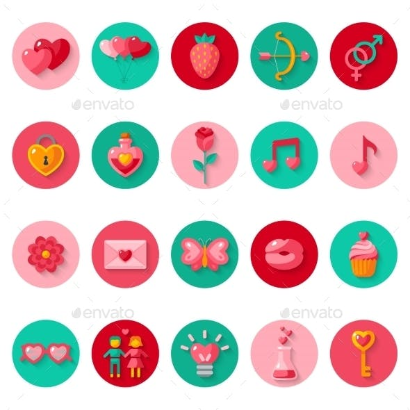Valentines Day Icons Elements Collection.