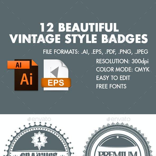 12 Beautiful Vintage Style Badges