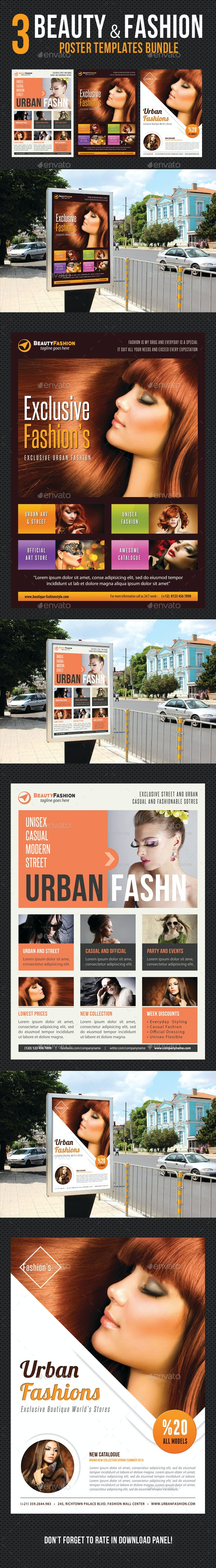 3 in 1 Beauty and Fashion Poster Bundle - Signage Print Templates