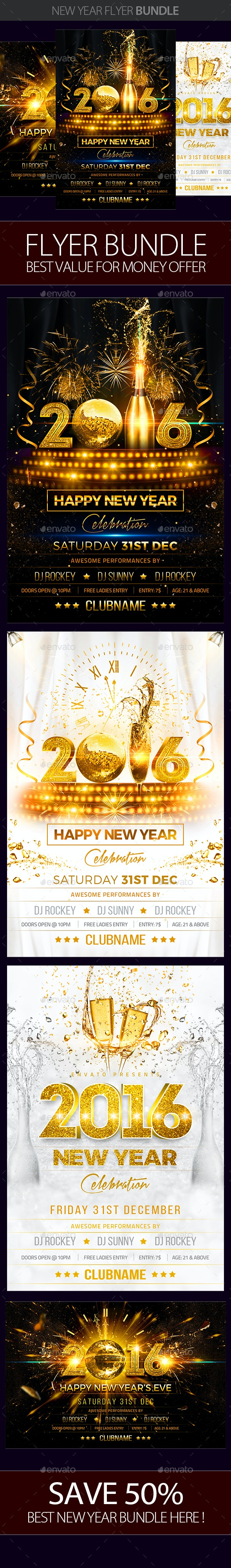 New Year Party Flyer Bundle - Clubs & Parties Events