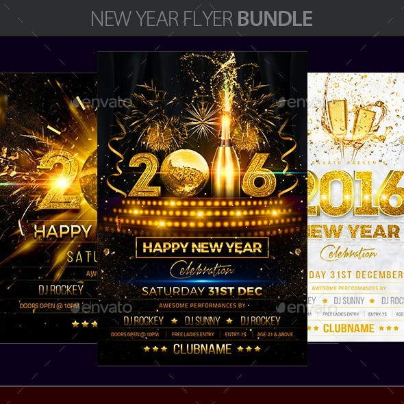 New Year Party Flyer Bundle