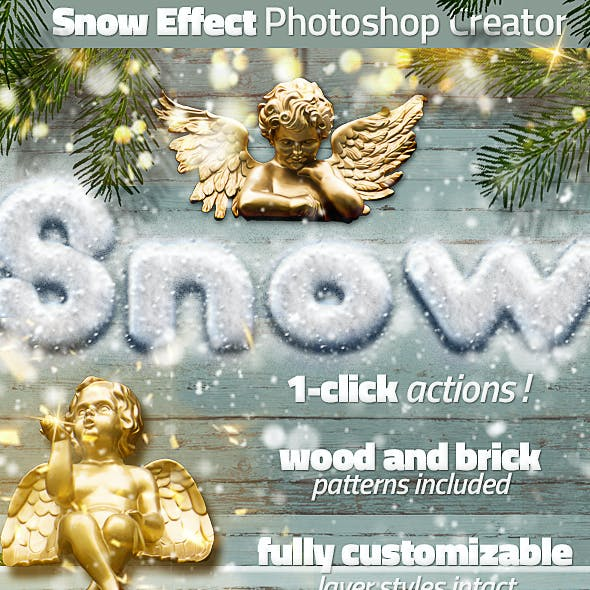 Snow and Wood Photoshop Winter Sign Creator