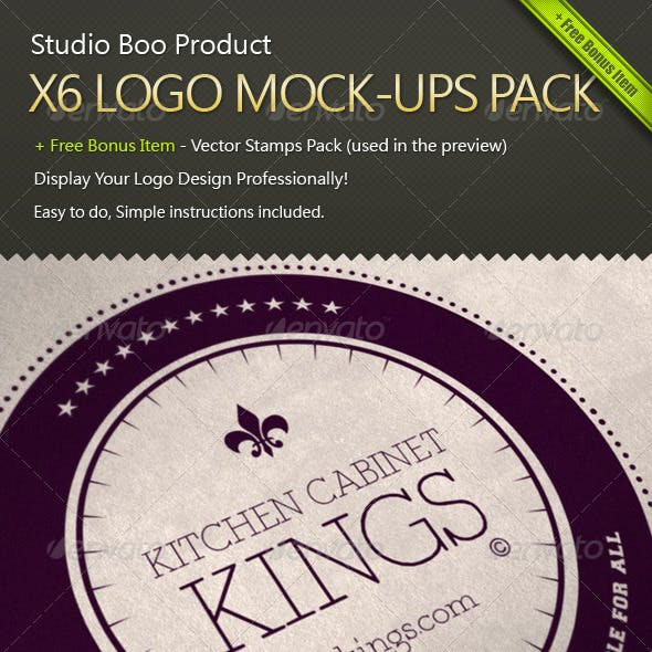 X6 Logo Mock-ups Pack + Free Bonus Item