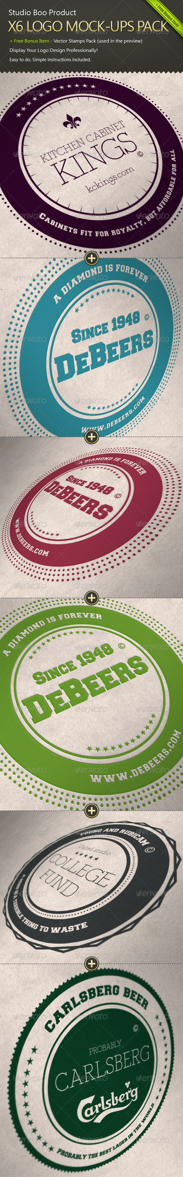 X6 Logo Mock-ups Pack + Free Bonus Item - Logo Product Mock-Ups