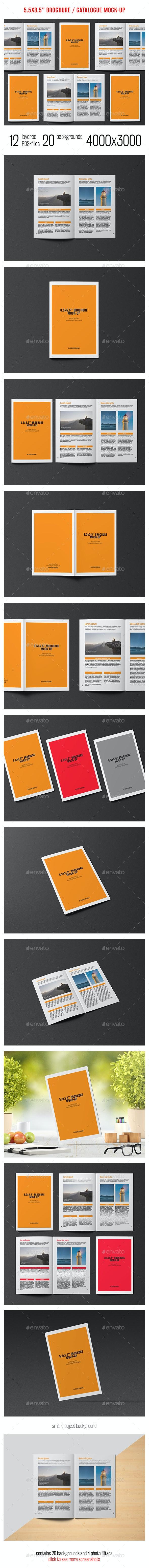 8.5x5.5 Brochure / Catalogue Mock-Up - Brochures Print