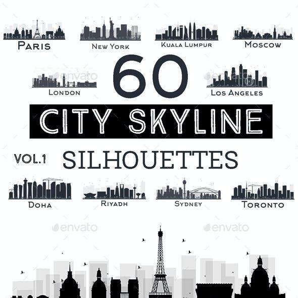 60 City Skyline Silhouettes Set