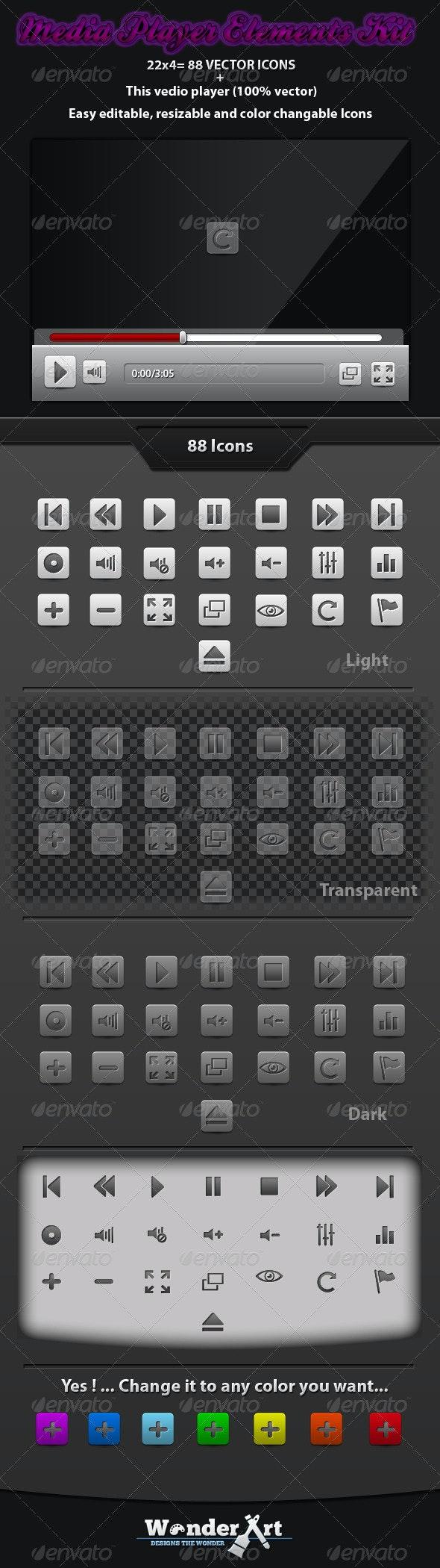 Media Player Elements Kit - User Interfaces Web Elements