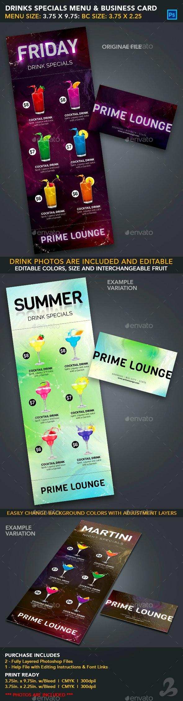 Drink Specials Menu & Business Card Template 1 - Food Menus Print Templates