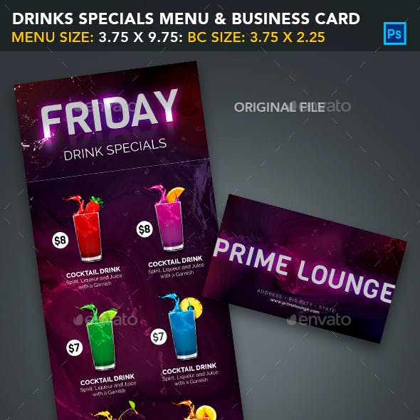 Drink Specials Menu & Business Card Template 1