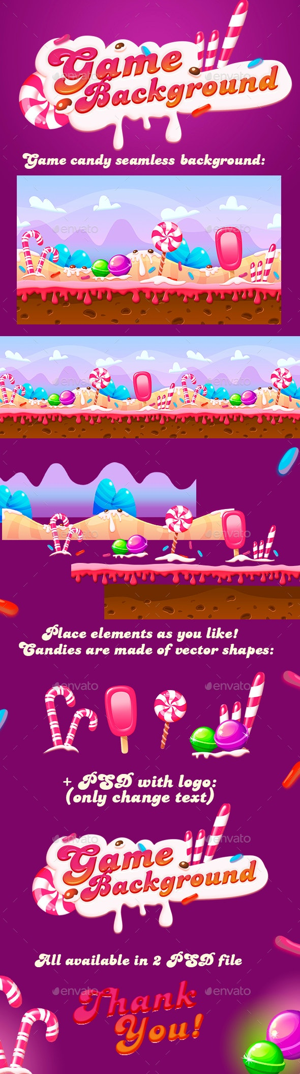 Seamless Candy Background For Game - Game Assets