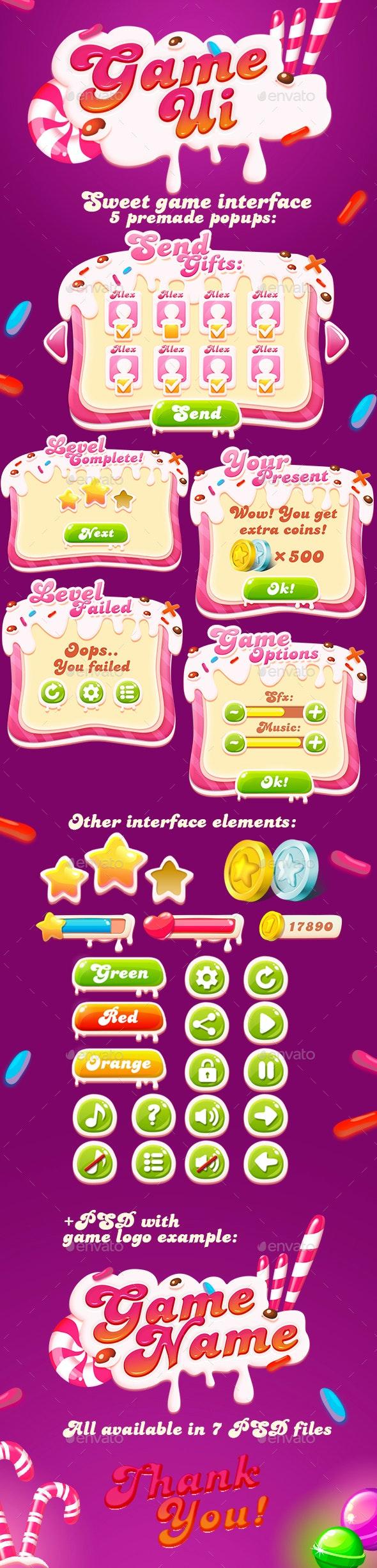 Sweet GUI + Game Logo - User Interfaces Game Assets