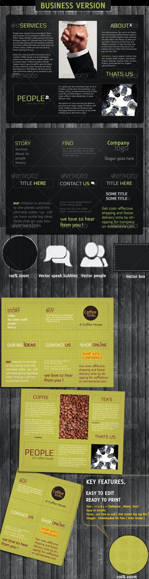 Business And Coffee Shop Brochure - Food Menus Print Templates