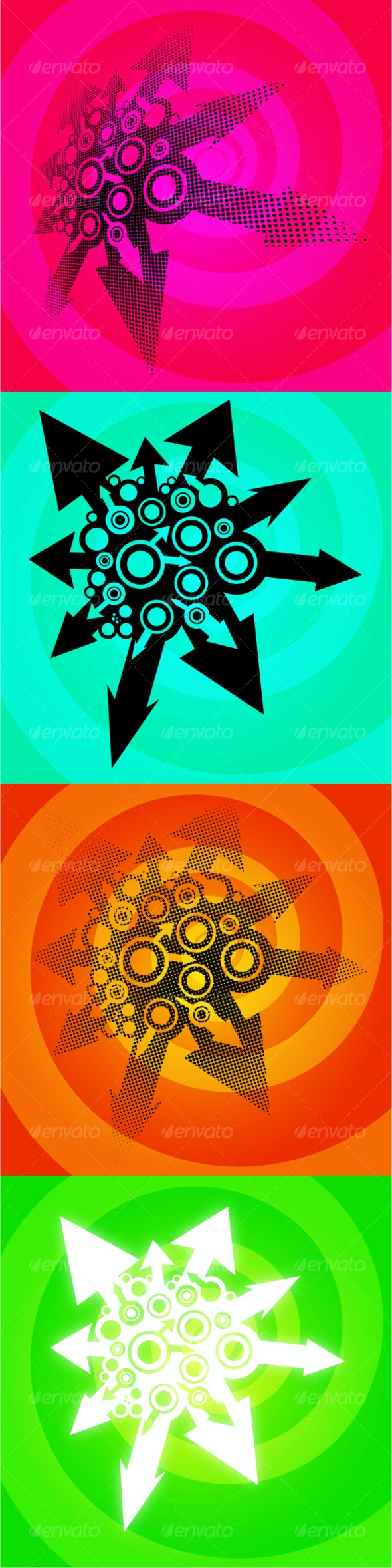 4 Abstract arrow bursts with abstract background - Abstract Conceptual