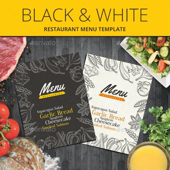 Black & White Restaurant Menu