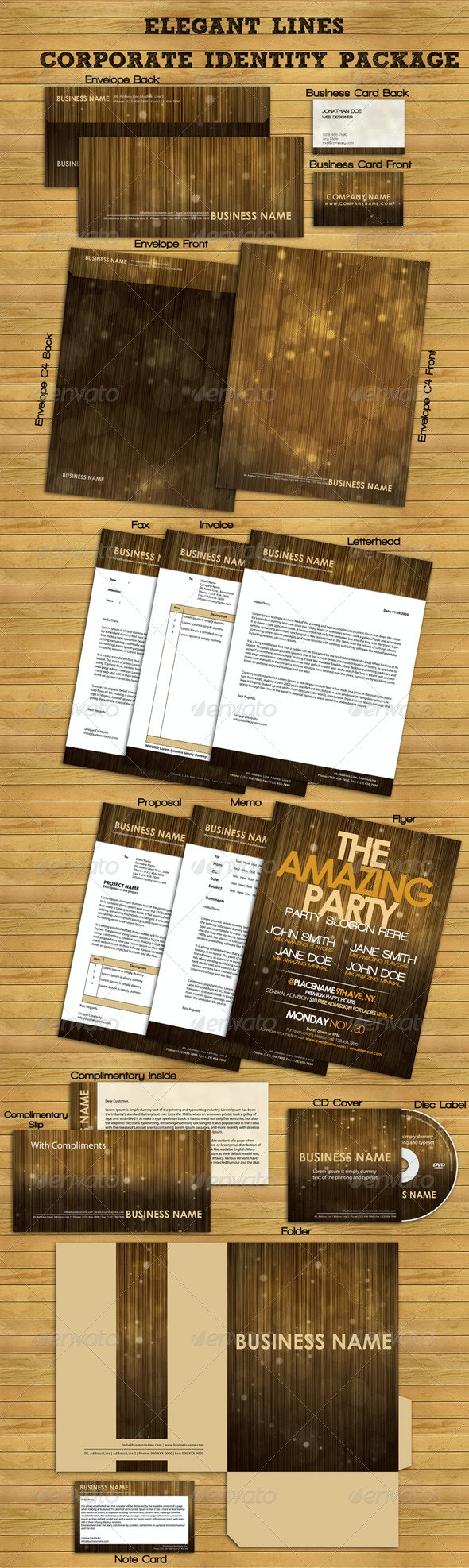 Elegant Lines Corporate Identity Package - Stationery Print Templates