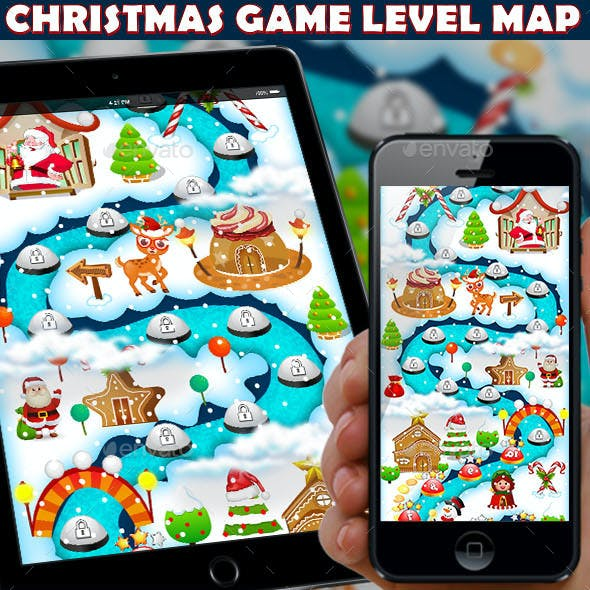 Christmas Candy Game UI Level Map