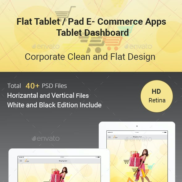 E-Commerce Flat Tablet and Pad App Dashboard