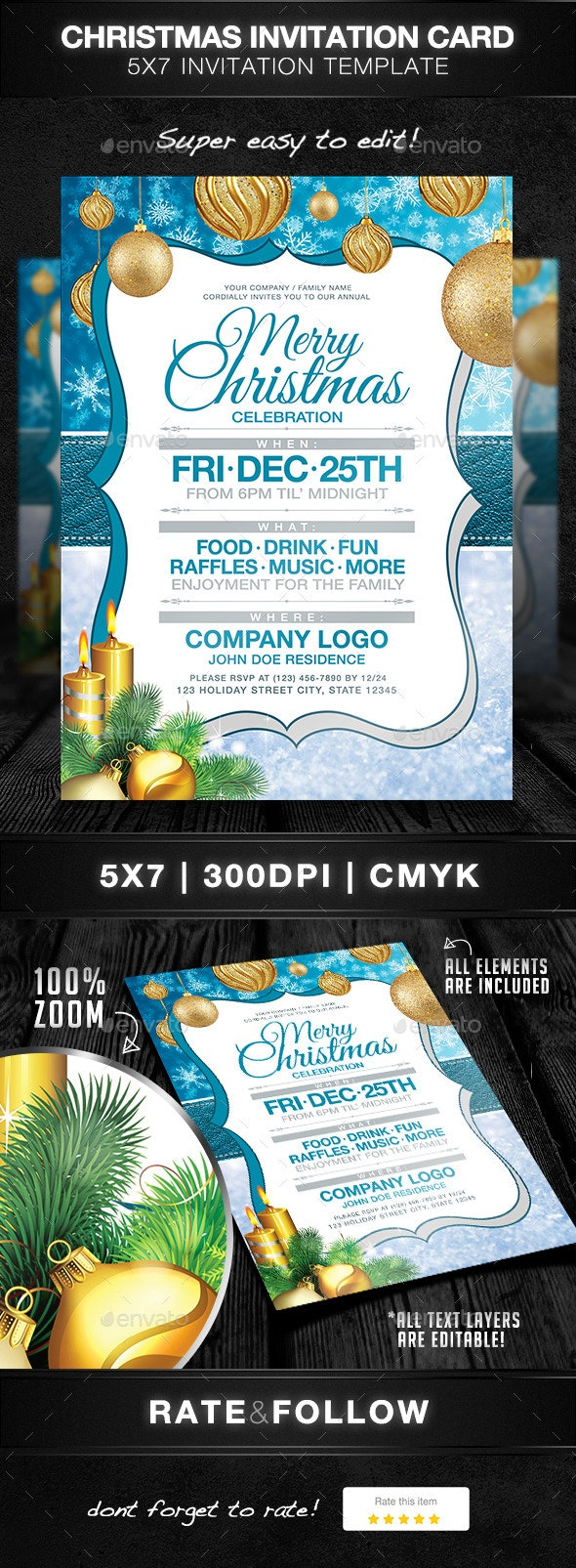 Christmas Party Invitation Card - Holidays Events