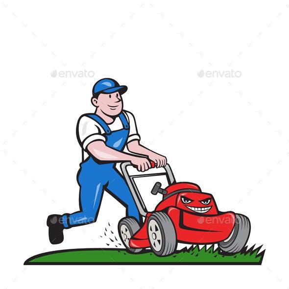 Gardener Mowing Lawn Mower Cartoon