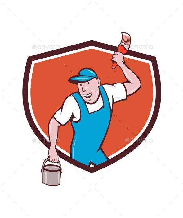 House Painter Paintbrush Paint Bucket Crest Cartoon - People Characters